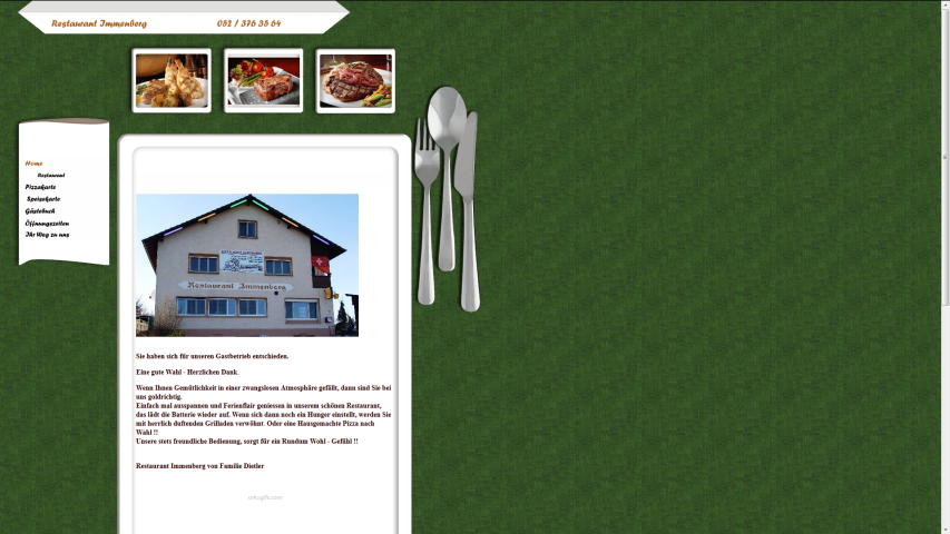 Die Homepage des Restaurants Immenberg, 8512 Thundorf